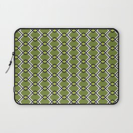 1960's Inspired Green, Yellow, Black and White Pattern Laptop Sleeve