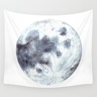 the moon Wall Tapestries featuring Moon by Bridget Davidson