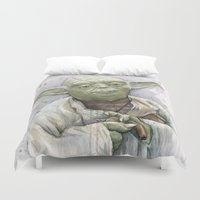 yoda Duvet Covers featuring Yoda  by Olechka