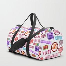 """No chill"" pattern / White Duffle Bag"