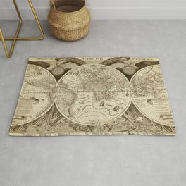 Antique world map with sail ships, sepia Rug
