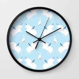 The Boy, the bull and the dog, blue Wall Clock