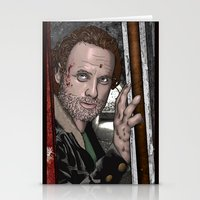 rick grimes Stationery Cards featuring Rick Grimes  Walking Dead by Kenneth Shinabery
