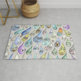 raindrops with personality, cool light gray grey Rug