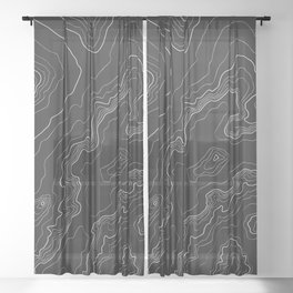 Black topography map Sheer Curtain