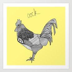 yellow cock square Art Print