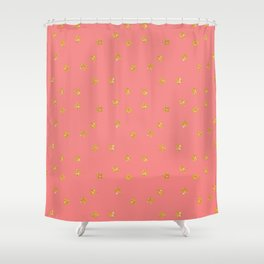 Modern coral faux gold glitter starry pattern Shower Curtain