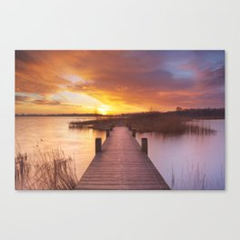 I - Boardwalk over water at sunrise, near Amsterdam The Netherlands Canvas Print