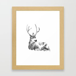 Watercolor Buck Framed Art Print