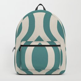 Pretty Ogee Pattern 431 Teal and Beige Backpack