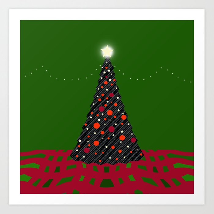 Christmas Tree With Glowing Star Art Print By Melissajbarrett Society6
