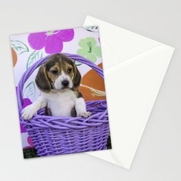 Beagle Puppy Sitting up in a Purple Basket with His Paw on the Edge Stationery Cards