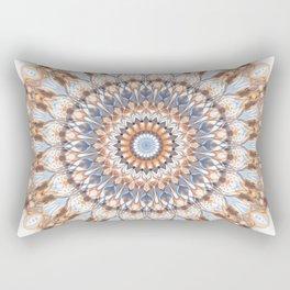 Boho Chic Ethnic Mandala | Peach Brown Blue Modern Stylish Bohemian  Rectangular Pillow