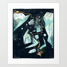 Climbing the Crevasse Art Print