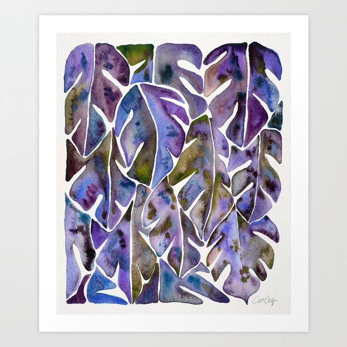 Split Leaf Philodendron – Purple Art Print