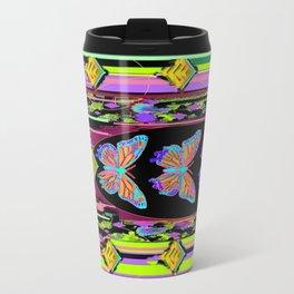 Butterfly Garden Western Style Black Fringed Shawl Travel Mug