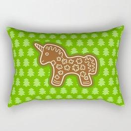Gingerbread Unicorn on Green Background Rectangular Pillow