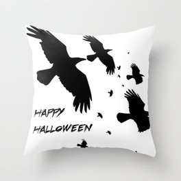 Happy Halloween Murder of Crows  Throw Pillow
