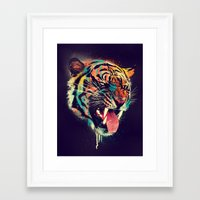 card Framed Art Prints featuring FEROCIOUS TIGER by dzeri29