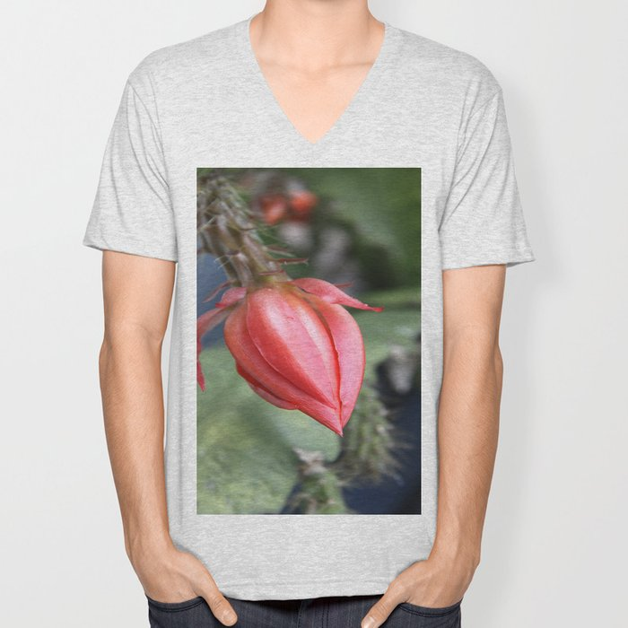 Beautiful Cactus Bud Unisex V-Neck