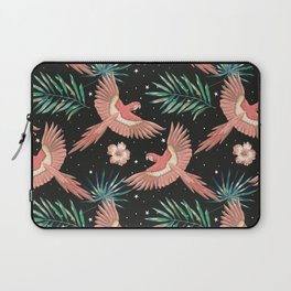 Pink macaw parrots on the starry night sky Laptop Sleeve