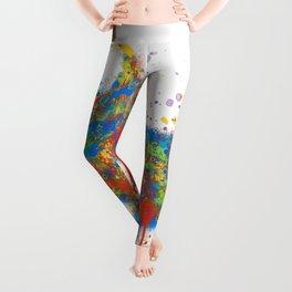 Splatter Paint Great White Shark Leggings