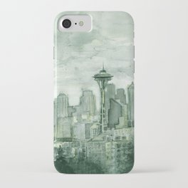 Seattle Skyline Watercolor Space Needle Emerald City 12th Man Art iPhone Case