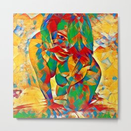 3334s-SRC Abstract Woman with Blue Eyes Rendered in Color and Style Metal Print
