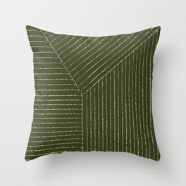 Lines (Olive Green) Throw Pillow