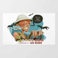 fear and loathing Area & Throw Rugs featuring Fear and Loathing in Las Vegas by Danilo Fiocco