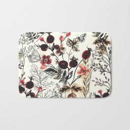 Watercolor autum berries and foliage Bath Mat