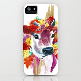 Cow Indian Blossom Yoga Art iPhone Case