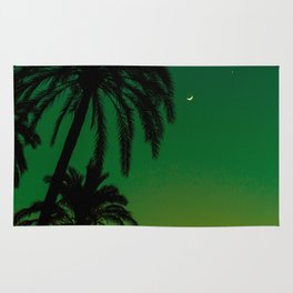 Tropical Palm Tree Silhouette Green Ombre Sunset Crescent Moon At Night Rug