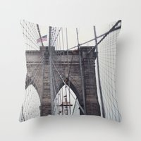 brooklyn bridge Throw Pillows featuring Brooklyn Bridge by Kameron Elisabeth