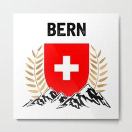 Bern Swiss Flag TShirt Swiss Alps Shirt Switzerland Gift Idea  Metal Print
