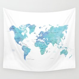 Watercolour World Map Wall Tapestry