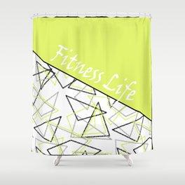 The fitness club . Sport . Lemon white creative sport pattern . Shower Curtain