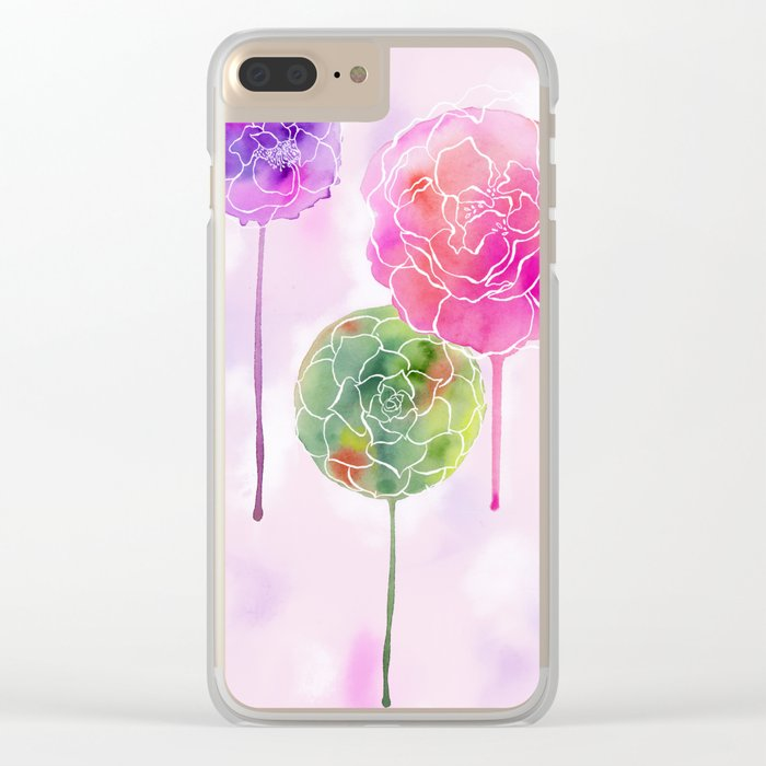 Succulent and Roses Clear iPhone Case