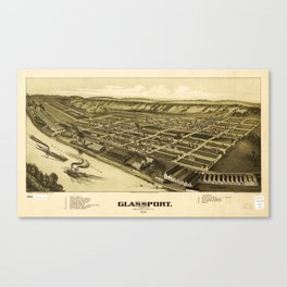 Aerial View of Glassport, Pennsylvania (1902) Canvas Print