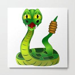 Bright green rattlesnake illustration Metal Print