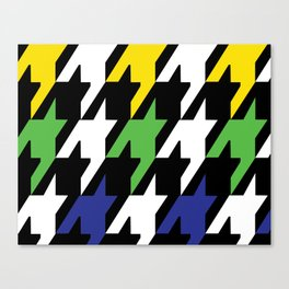 Jumbo Scale Masculine Colored Houndstooth Pattern Canvas Print