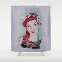 pinup Shower Curtains featuring pinup sweety by Studio Joan