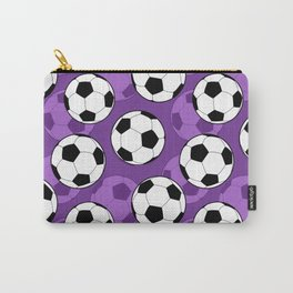 Football Pattern on Purple Background Carry-All Pouch