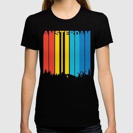 Retro 1970's Style Amsterdam Skyline T-shirt