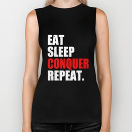 Eat Sleep Conquer Repeat Gym Fitness Fit Whey Mma Crossfit Workout Gym T-Shirts Biker Tank
