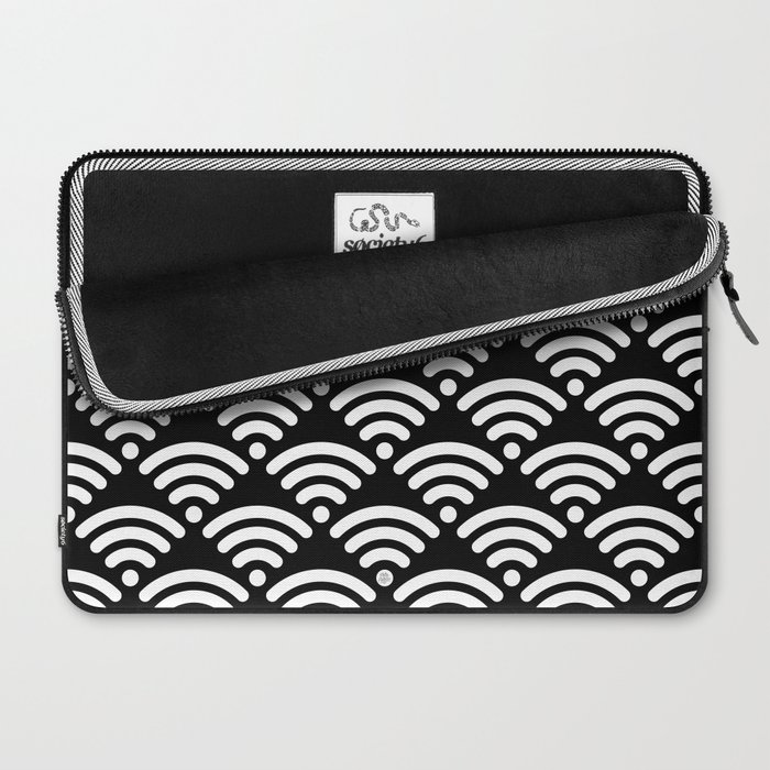 WiFi Pattern (white on black) Laptop Sleeve