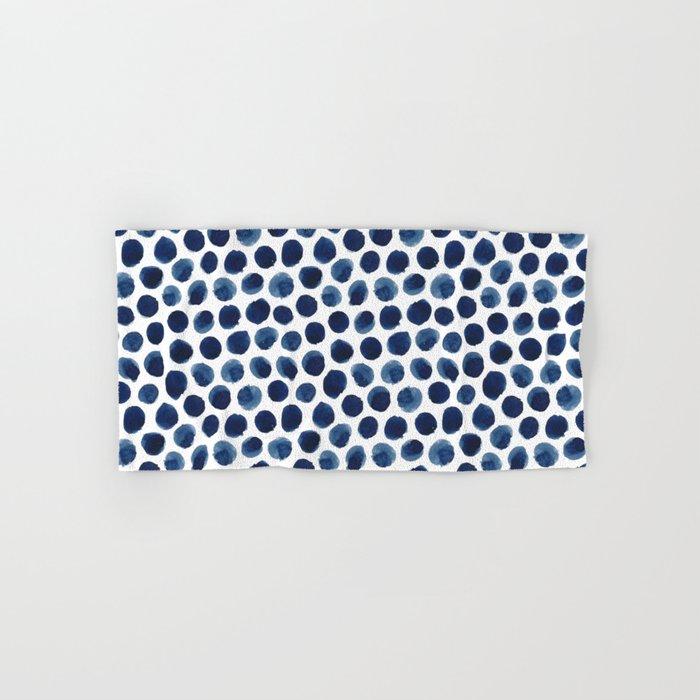 Large Indigo/Blue Watercolor Polka Dot Pattern Hand & Bath Towel