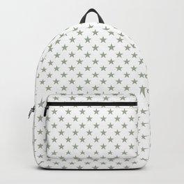 Desert Sage Grey Green Stars on Bright White Backpack