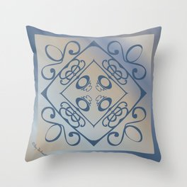 Shalom Mandala - Blue Beige Throw Pillow