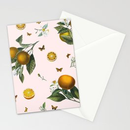 Oranges and Butterflies in Blush Stationery Cards
